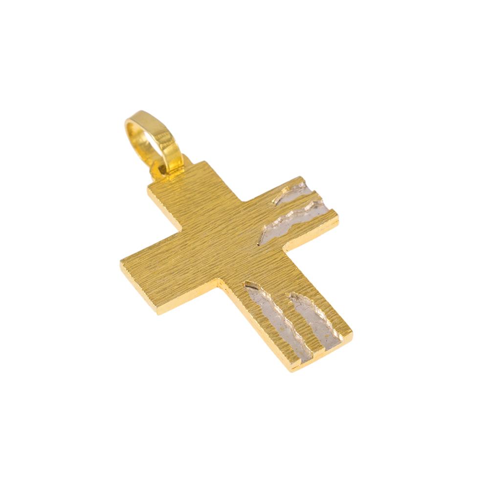 Σταυρός σε κίτρινο χρυσό 14Κ με λευκόχρυσες επιφάνειες