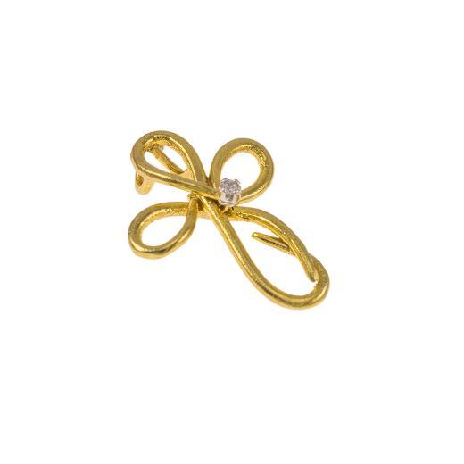 """Σταυρός """"DAISIES"""" σε κίτρινο χρυσό 14Κ με ζιργκόν ."""