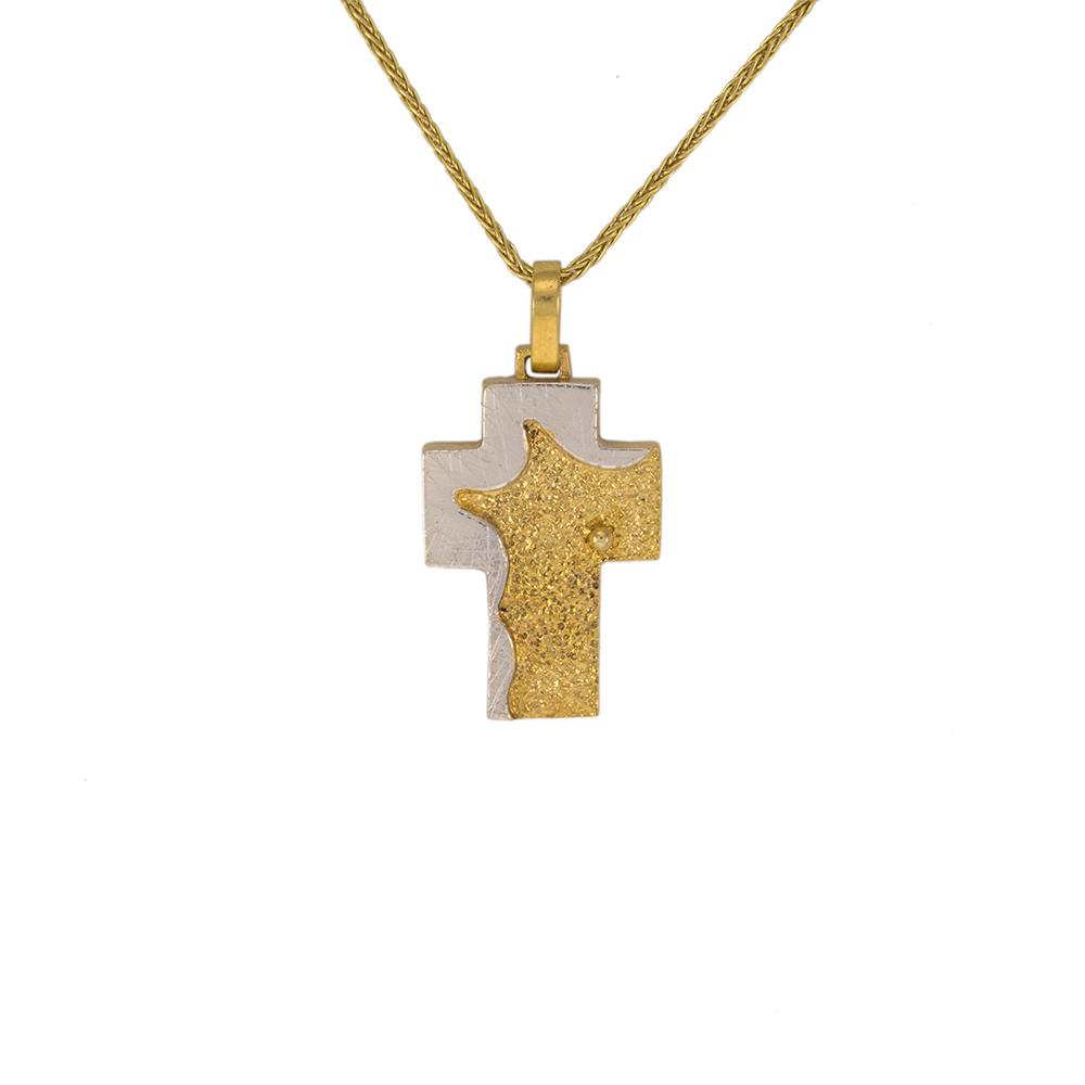 Σταυρός σε κίτρινο και λευκό χρυσό 14ΚT