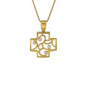 Σταυρός διάτρητος  σε κίτρινο χρυσό 14ΚΤ με ζιργκόν σε τέσσερις βάσεις.