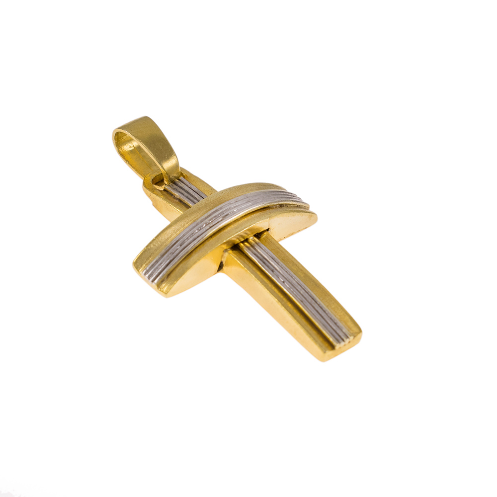 Σταυρός σε κίτρινο και λευκό χρυσό 14ΚΤ