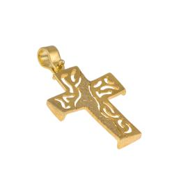 Cross gold matte surface 14 kt.