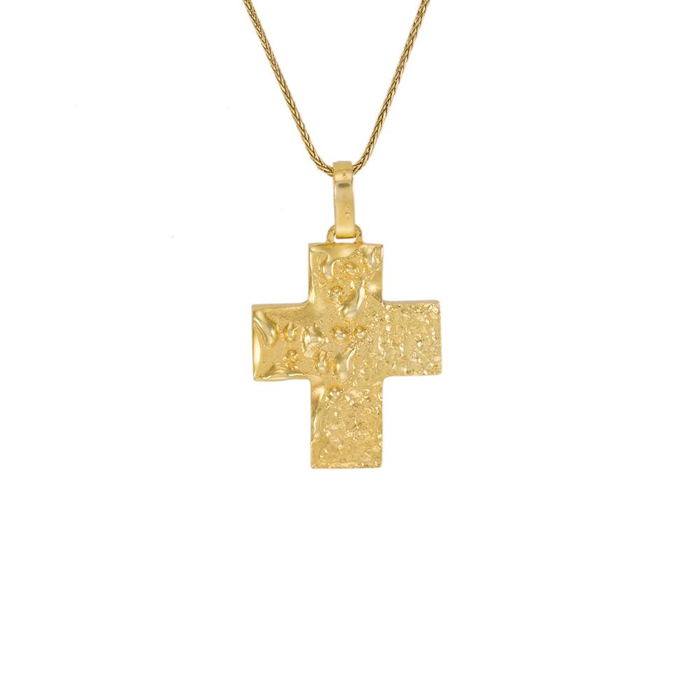 """Σταυρός """"LAVA"""" σε ανάγλυφο κίτρινο χρυσό 14ΚΤ"""