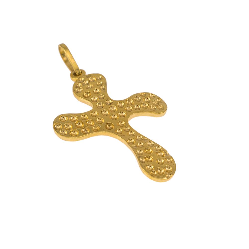 Σταυρός σε κίτρινο χρυσό 14ΚΤ διπλής όψης