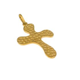 Cross in yellow gold 14 kt double face.