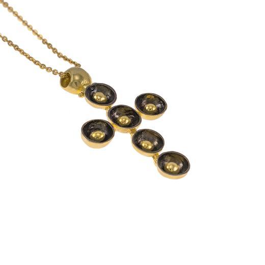 """Σταυρός """"CAVES"""" σε κίτρινο χρυσό 14ΚΤ με επιροδιωμενη επιφάνεια."""