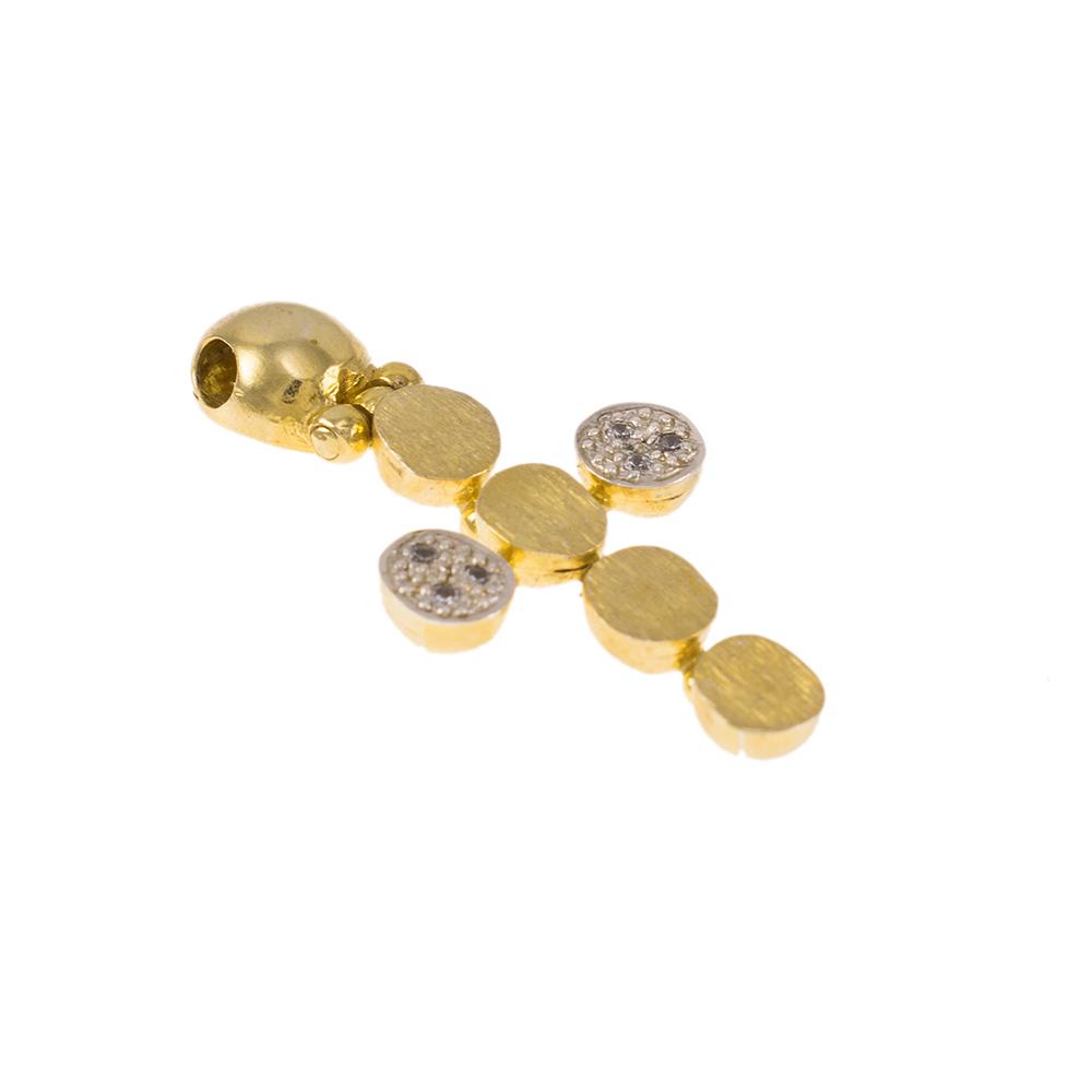 """Σταυρός """"CYCLE"""" σε κίτρινο και λευκό χρυσό 14ΚΤ με ζιργκόν ."""