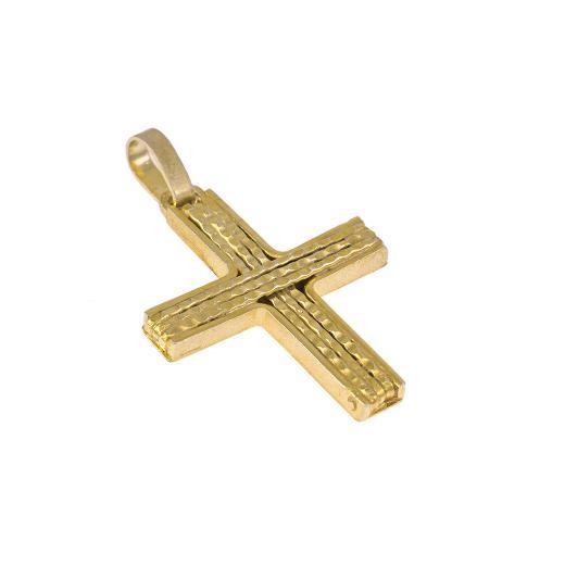 Σταυρός σε κίτρινο χρυσό 14 καρατίων με σύρματα στη μέση.