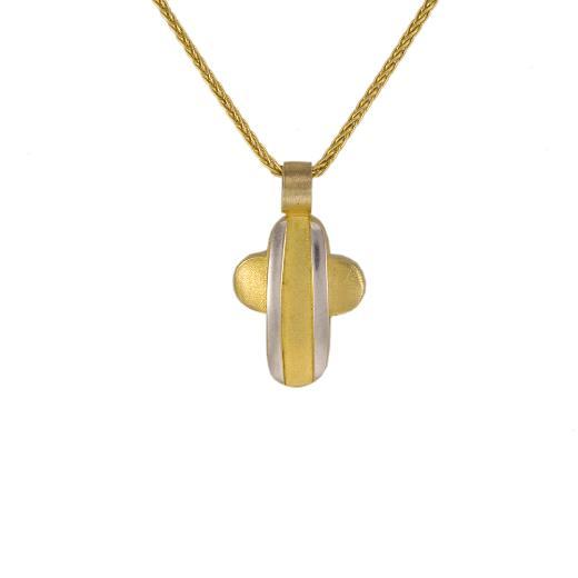 Σταυρός σε κίτρινο και λευκό χρυσό 14ΚΤ.
