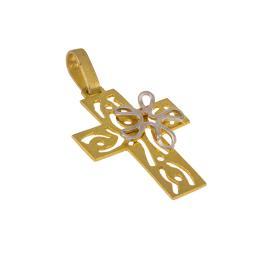 """Σταυρός """"DAISIES"""" σε κίτρινο και λευκό χρυσό  14ΚΤ"""