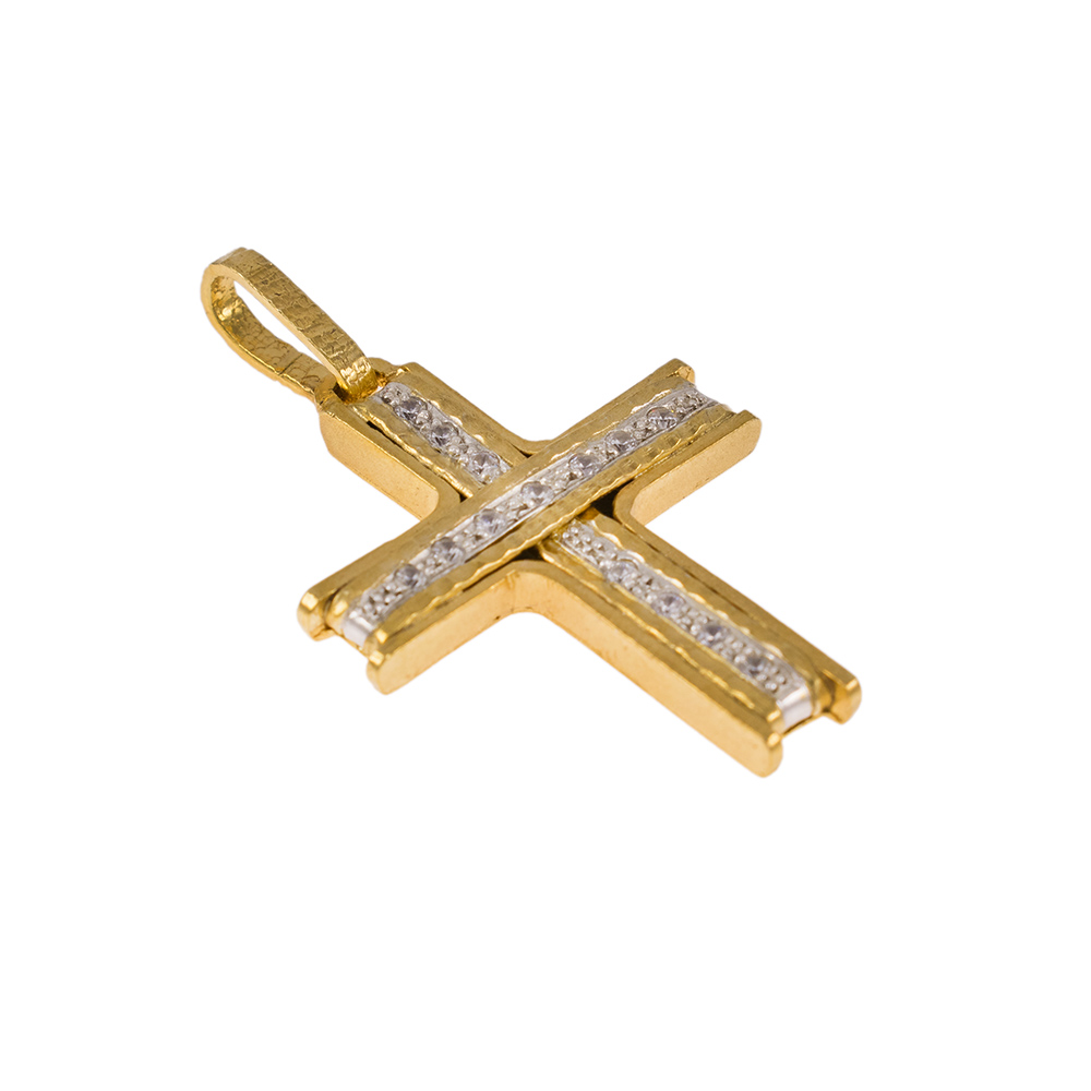 Σταυρός σε κίτρινο χρυσό 14Κ με ζιργκόν.