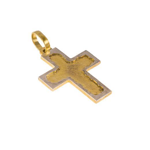 Σταυρός σε κίτρινο ματ και λευκό χρυσό 14ΚΤ