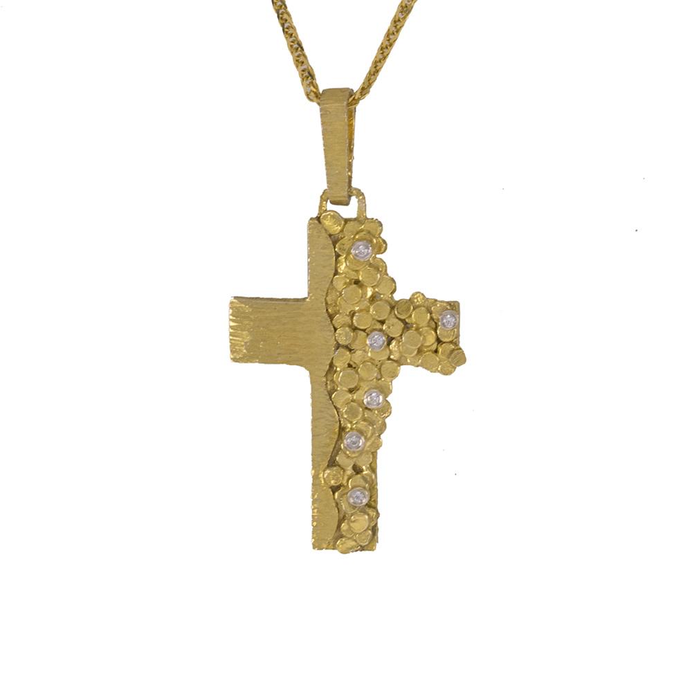 """Σταυρός """"DOTS"""" σε κίτρινο χρυσό 14Κ με ζιργκόν."""