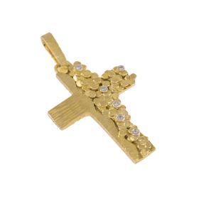 """Σταυρός πλακέ, """"DOTS"""", δύο επιφανειών, σε κίτρινο χρυσό με ζιργκόν σε έξι στρόγγυλες βάσεις."""