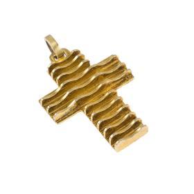 """Σταυρός """"LINES"""" με κυμματιστές οριζόντιες επιφάνειες σε κίτρινο χρυσό 14ΚΤ.   ST005103"""