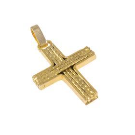 Σταυρός σε κίτρινο χρυσό 14 ΚΤ με τρία οριζόντια και κάθετα σύρματα στο εσωτερικό του .   ST005122