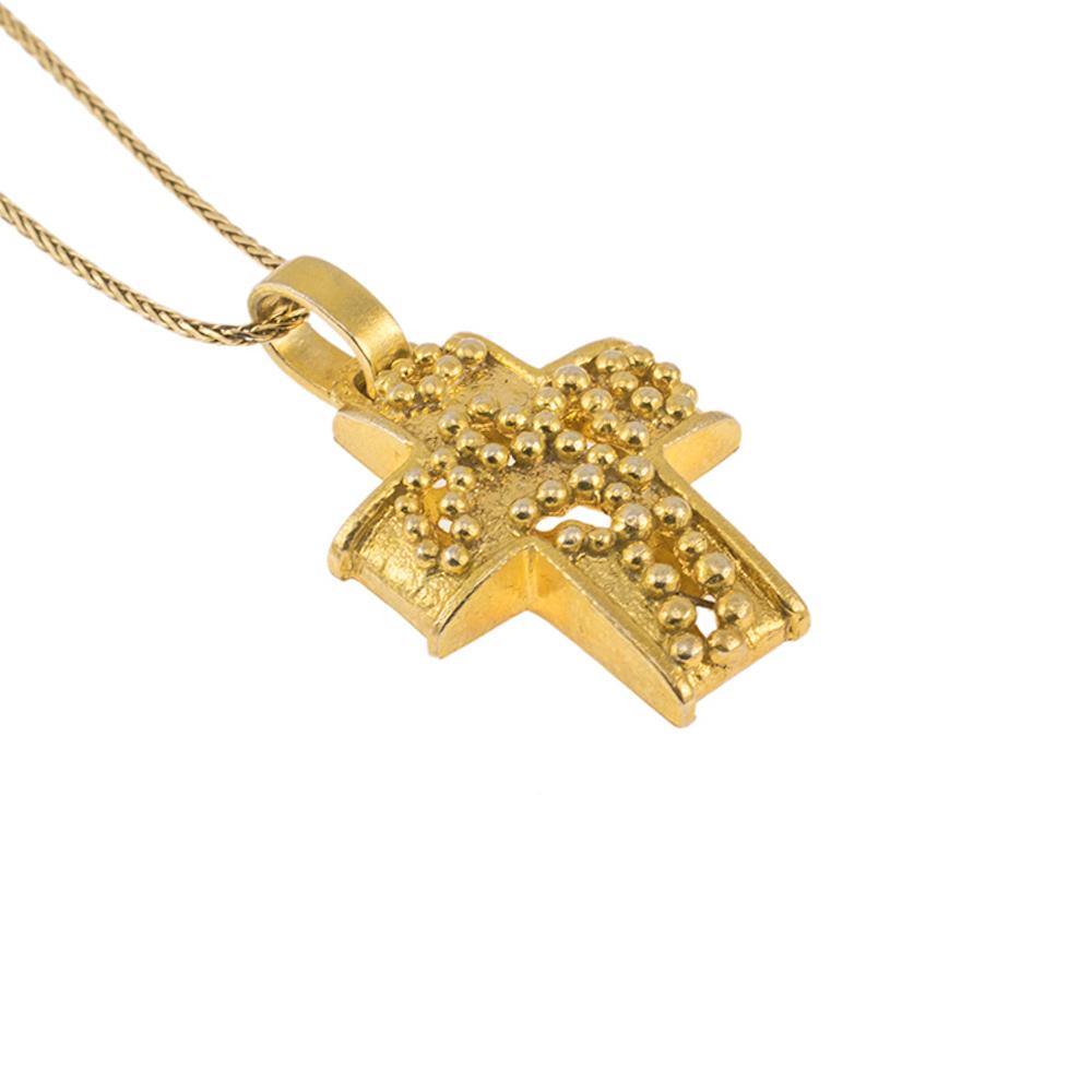"""Σταυρός """"DOTS"""" σε κίτρινο χρυσό 14ΚΤ."""