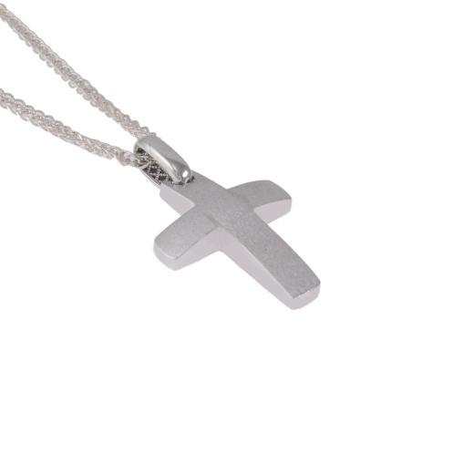 Σταυρός σε λευκό χρυσό 14Κ διπλής  όψεως.   ST005573