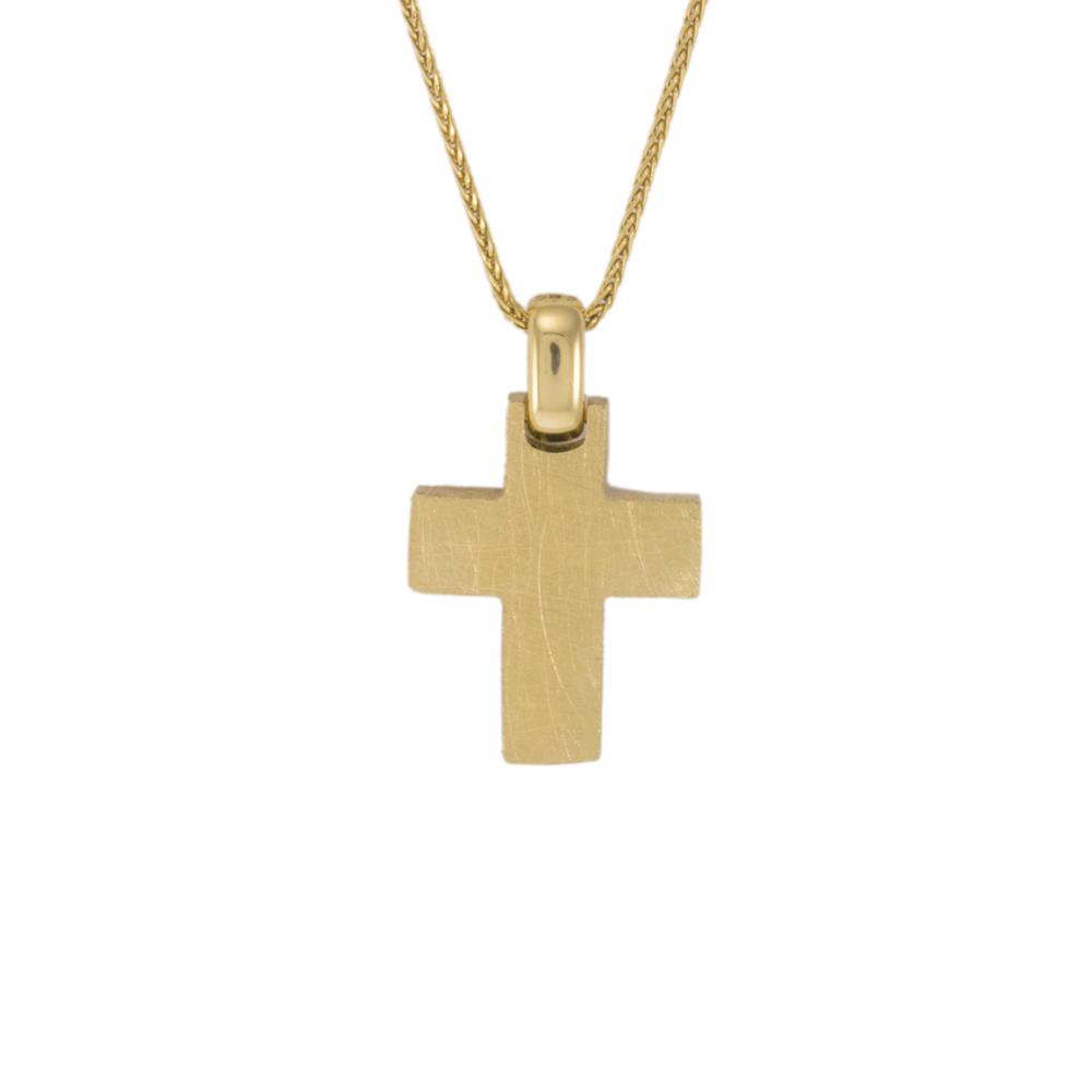 Σταυρός τετραγωνισμένος σε κίτρινο ματ χρυσό 14ΚΤ.