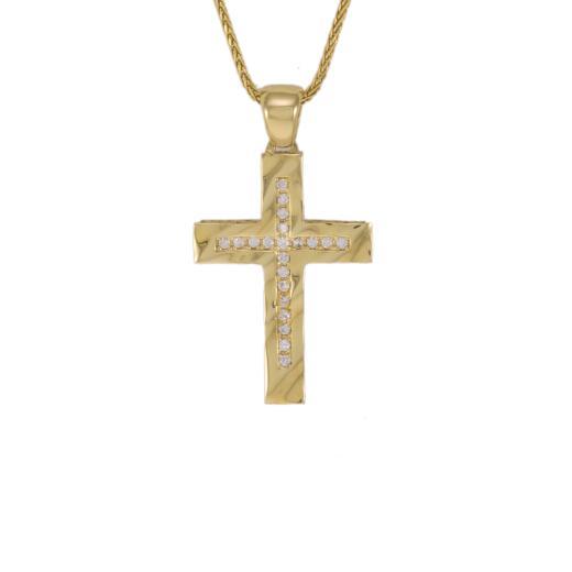 """Σταυρό """"WAVES"""" σε κίτρινο χρυσό 14ΚΤ διπλής όψεως με ζιργκόν."""