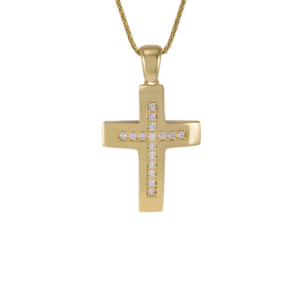 Σταυρός σε κίτρινο χρυσό 14ΚΤ διπλής όψεως με ζιργκόν.