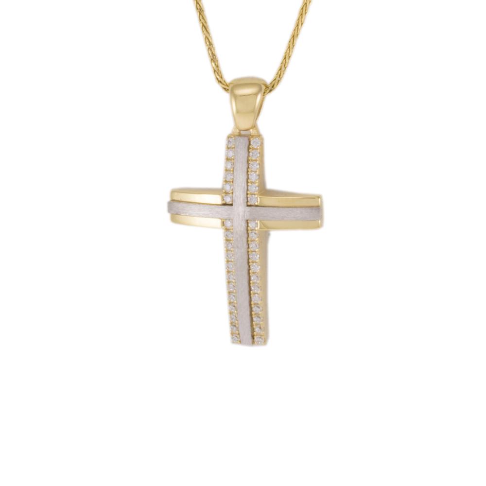 Σταυρός σε κίτρινο και λευκό χρυσό 14Κ  διπλής όψεως με ζιργκόν.