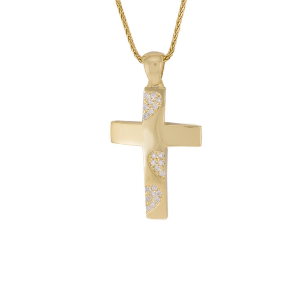 Σταυρός σε κίτρινο χρυσό 14Κ διπλής  όψεως με ζιργκόν.