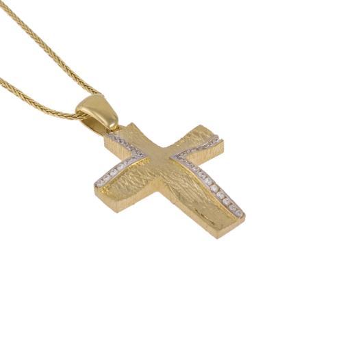 """Σταυρός """"WAVES"""" σε κίτρινο χρυσό 14ΚΤ διπλής  όψεως με ζιργκόν."""