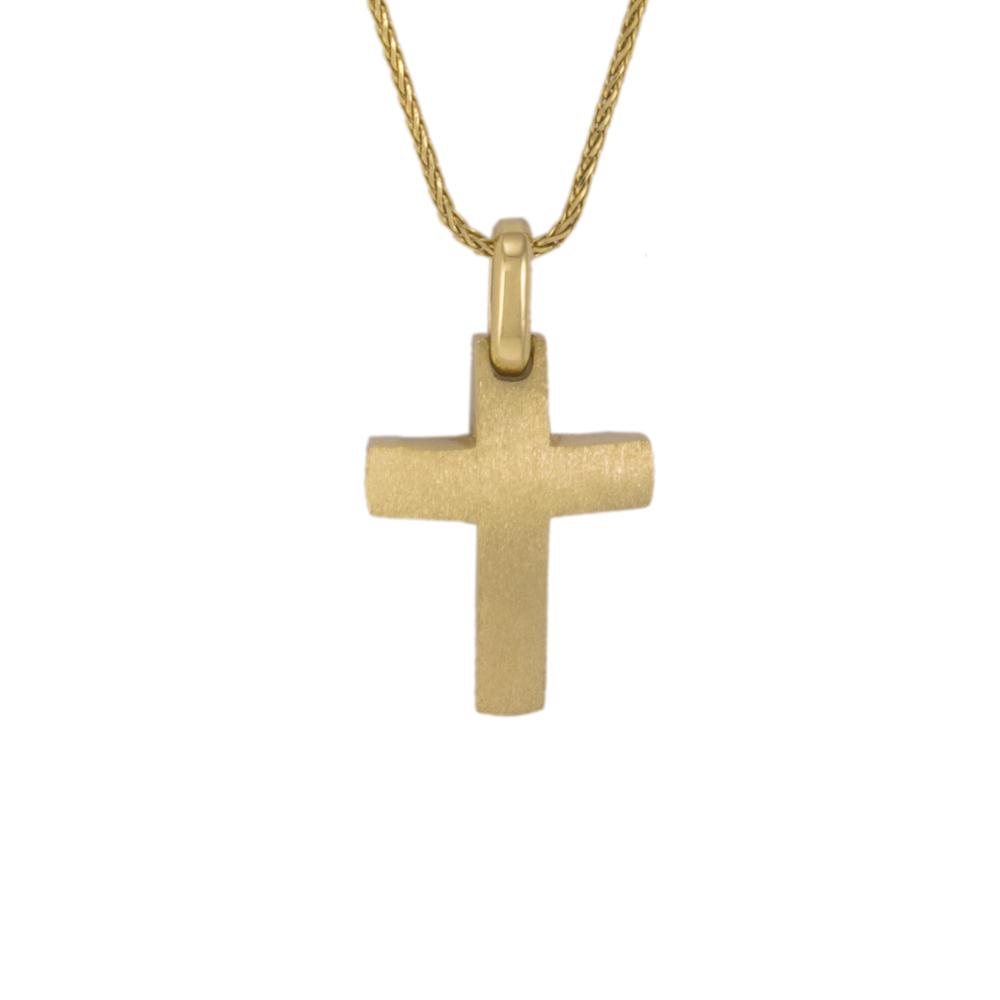 Σταυρός σε κίτρινο χρυσό 14Κ διπλής όψεως σε ματ επιφάνεια.