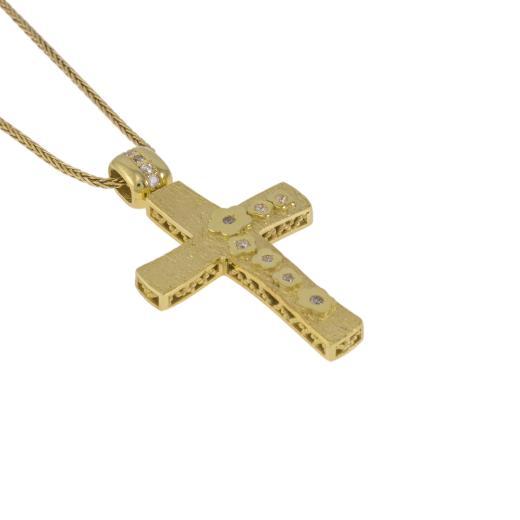 """Σταυρός """"FLOWERS"""" σε κίτρινο χρυσό 14Κ διπλής όψεως."""