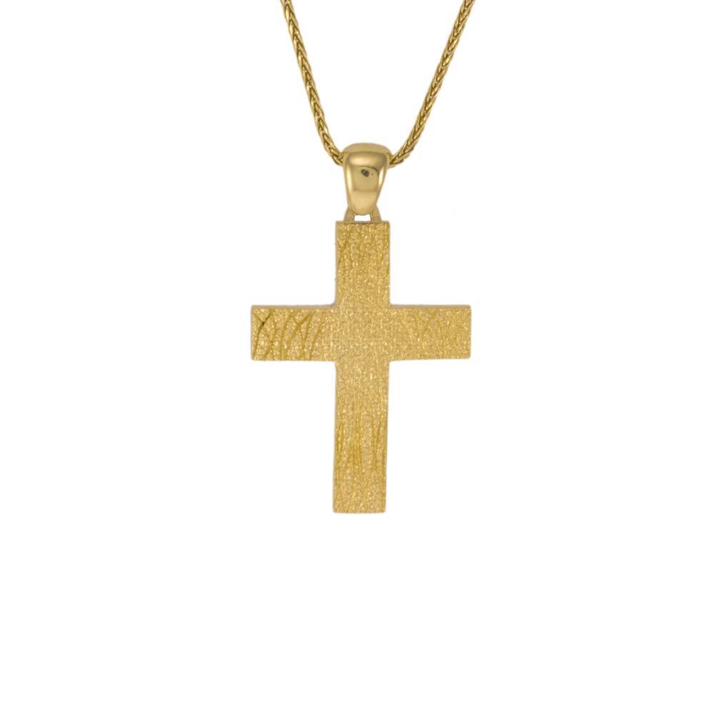 Σταυρός σε κίτρινο χρυσό 14Κ διπλής όψεως.