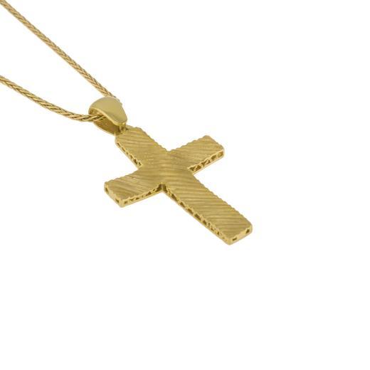 Σταυρός σε κίτρινο ματ χρυσό 14ΚΤ διπλής όψεως.