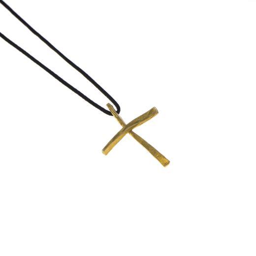 """Σταυρός """"LINES"""" σε κίτρινο χρυσό 14ΚΤ"""
