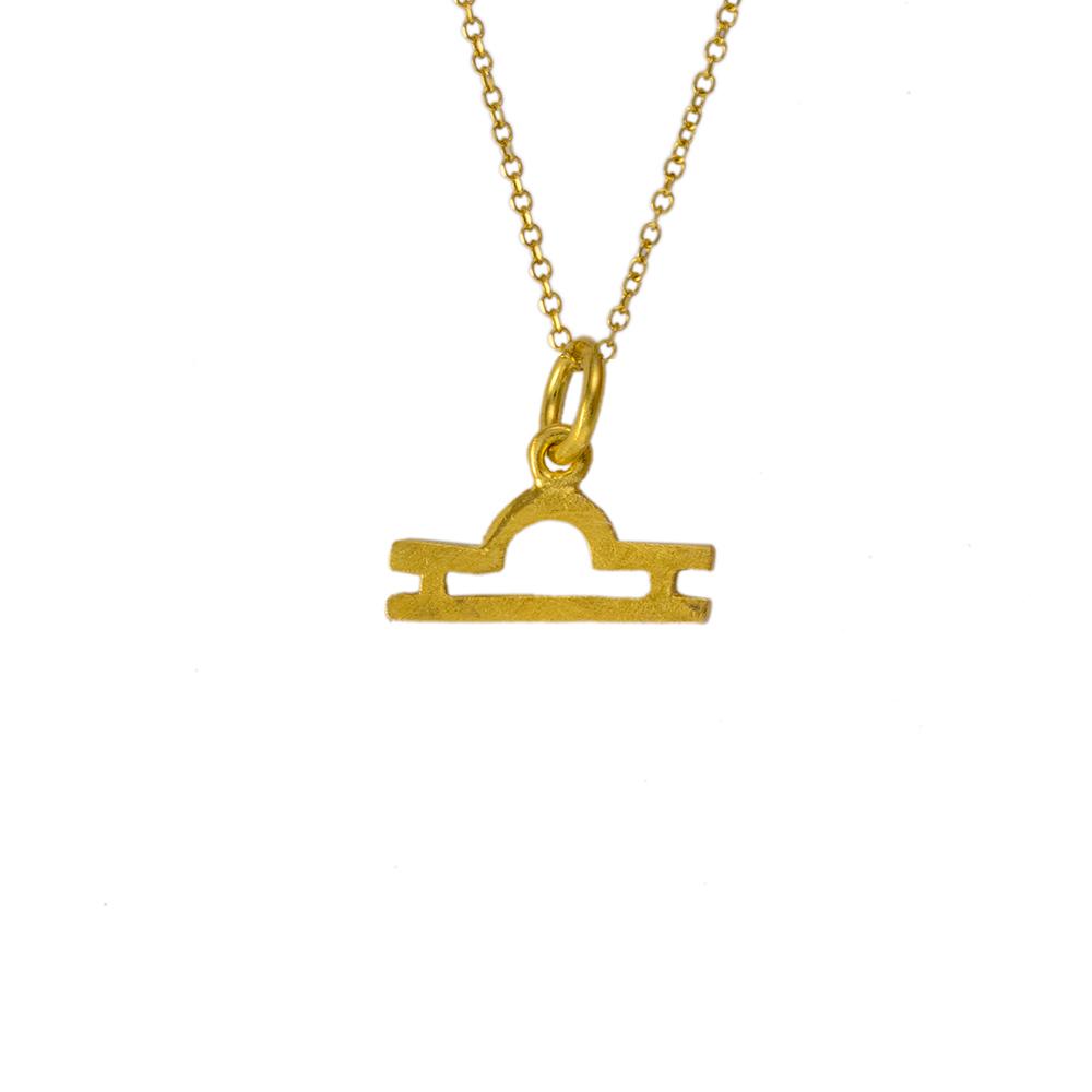 Mενταγιόν  Ζυγός  ζώδιο σε κίτρινο χρυσό 14ΚΤ.