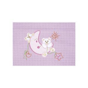 Κουβέρτα Πικέ Αγκαλιάς 80x110cm AdamHome Moon Pink