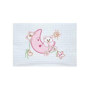 Κουβέρτα Πικέ Αγκαλιάς 80x110cm AdamHome Moon White-Pink