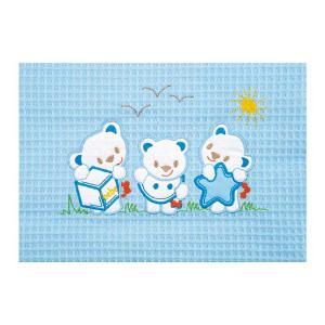 Κουβέρτα Πικέ Αγκαλιάς 80x110cm AdamHome Bear Blue