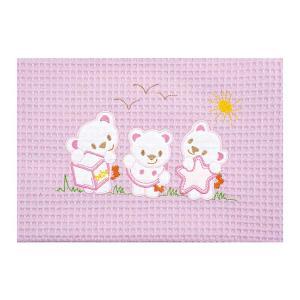 Κουβέρτα Πικέ Αγκαλιάς 80x110cm AdamHome Bear Pink