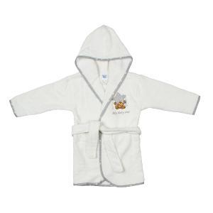 Μπουρνούζι Βρεφικό Dimcol Αστέρι 124 Λευκό-Γκρι