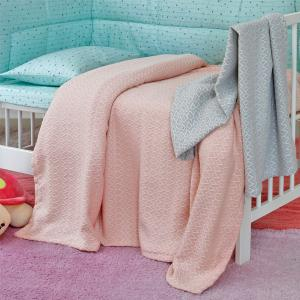 Κουβέρτα Πλεκτή Κούνιας 120x170cm Melinen Massimo Pink Βαμβάκι Πολυεστέρας