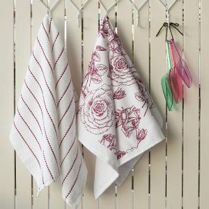 Πετσέτες Κουζίνας 2τμχ 40x60cm Melinen Rose Βαμβακερή