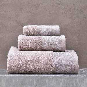 Πετσέτες Σετ 3 Τεμάχια Σε Κουτί Rythmos Mallory Μπεζ Βαμβακερές