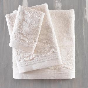 Πετσέτες Νυφικές Σετ 3τχμ Rythmos Anika Εκρού Βαμβακερές