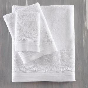Πετσέτες Νυφικές Σετ 3τχμ Rythmos Anika Λευκό Βαμβακερές
