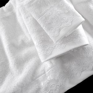 Πετσέτες Νυφικές Σετ 3τχμ Rythmos Nena Λευκό Βαμβακερές