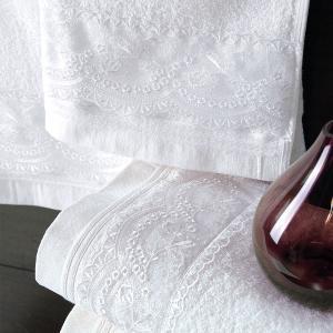 Πετσέτες Νυφικές Σετ 3τχμ Rythmos Shiraz Λευκό Βαμβακερές