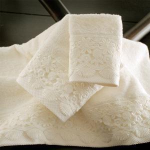 Πετσέτες Νυφικές Σετ 3τχμ Rythmos Olivine Εκρού Βαμβακερές