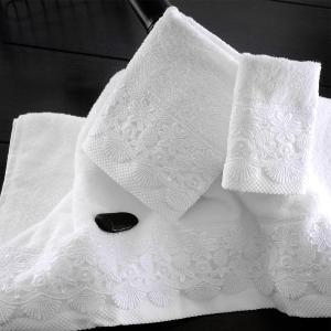 Πετσέτες Νυφικές Σετ 3τχμ Rythmos Olivine Λευκό Βαμβακερές