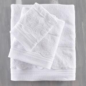 Πετσέτες Νυφικές Σετ 3τχμ Rythmos Regatta Λευκό Βαμβακερές