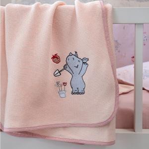 Κουβέρτα Πικέ Αγκαλιάς 80x110cm Nima Little Rhino Βαμβακερή